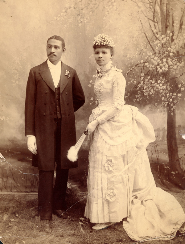 Wedding portrait of Charles Aaron and Willa A. Bruce.