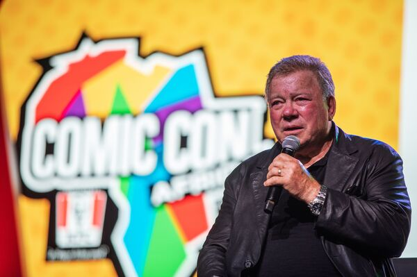 Canadian actor William Shatner, who became a cultural icon for his portrayal of Captain James T. Kirk in the Star Trek franchise, speaks at a convention in 2019.