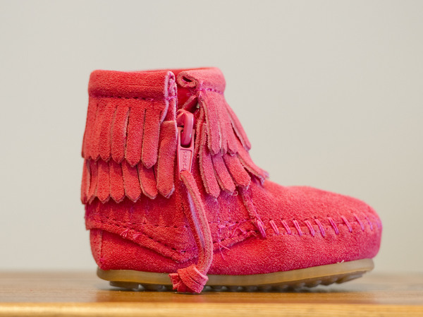 A child-size Minnetonka suede and leather moccasin, pictured in 2011. The company has apologized for appropriating Native American culture and promised to do more to support Indigenous communities.