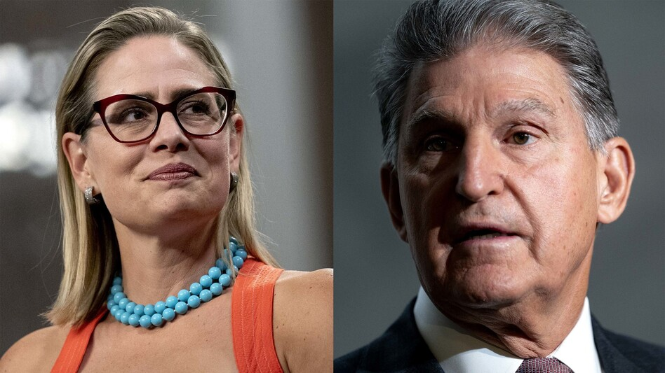 Sens. Kyrsten Sinema, D-Ariz., and Joe Manchin, D-W.Va., are the two holdouts as Democrats and the White House try to reach a deal on a sweeping spending bill. But their policy demands may put them at odds. (Stefani Reynolds/Bloomberg/Getty Images)