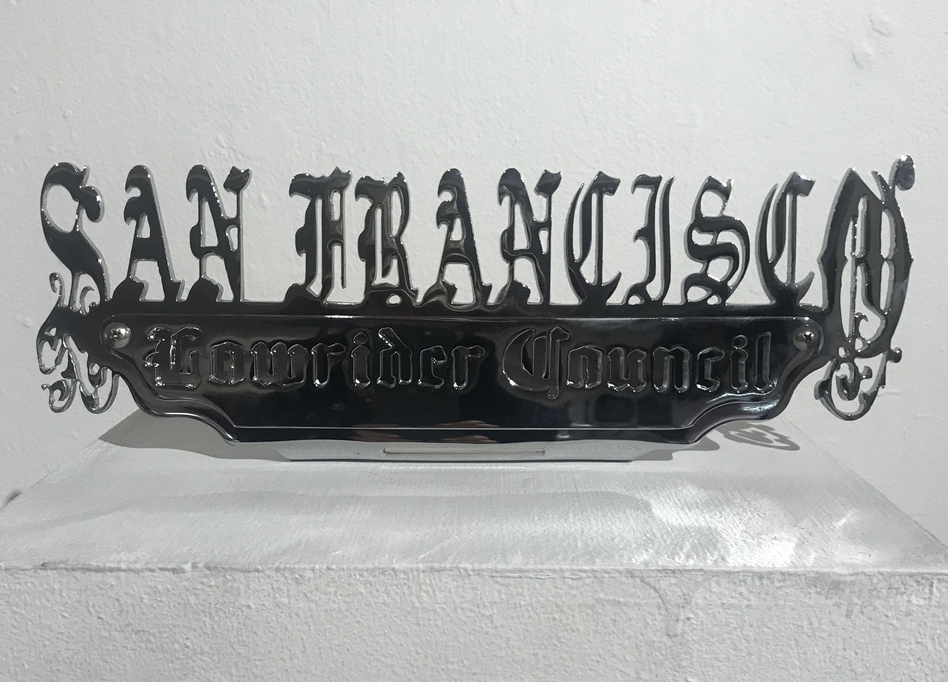 The San Francisco Lowrider Council plaque on display at the Mission Cultural Center for Latino Arts.