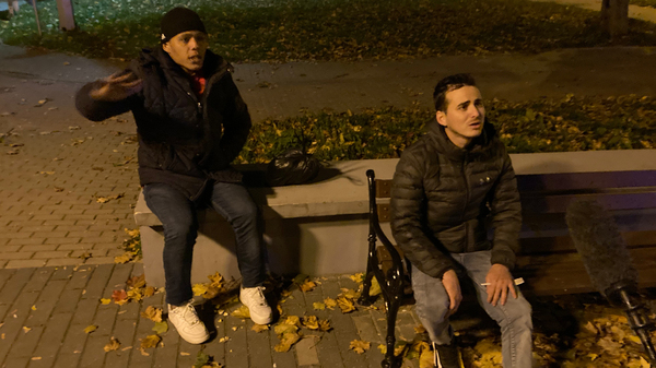 Raydel Aparicio Bringa (left) and Doniel Machado Pujol are photographed while being apprehended by Poland