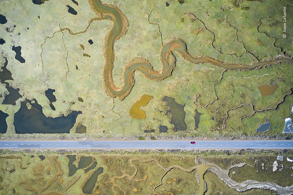 Road to ruin, by Javier Lafuente, Spain, winner, category: Wetlands - The Bigger Picture. Lafuente shows the stark, straight line of a road slicing through the curves of a wetland landscape. By maneuvering his drone and inclining the camera, Lafuente dealt with the challenges of sunlight reflected by the water and ever-changing light conditions.