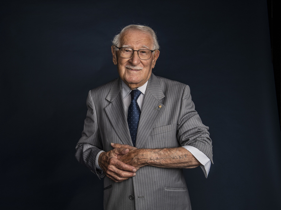 Eddie Jaku pictured just after his 100th birthday, on July 2, 2020. The Holocaust survivor and self-proclaimed