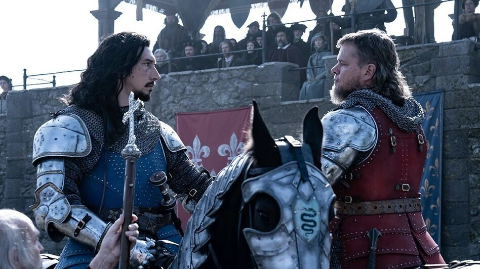 Adam Driver and Matt Damon play real-life combatants Jacques Le Gris and Sir Jean de Carrouges in The Last Duel.