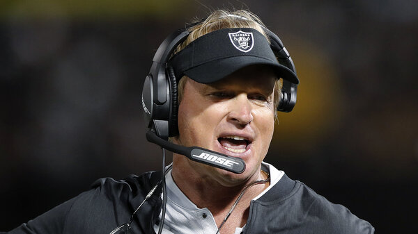 Jon Gruden resigned as coach of the Las Vegas Raiders after the publication of emails he wrote from 2011 to 2018, when he was an ESPN analyst, to then-Washington Football Team executive Bruce Allen.