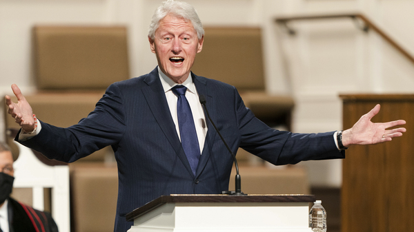Former President Bill Clinton speaks during funeral services for Hank Aaron in Atlanta earlier this year.