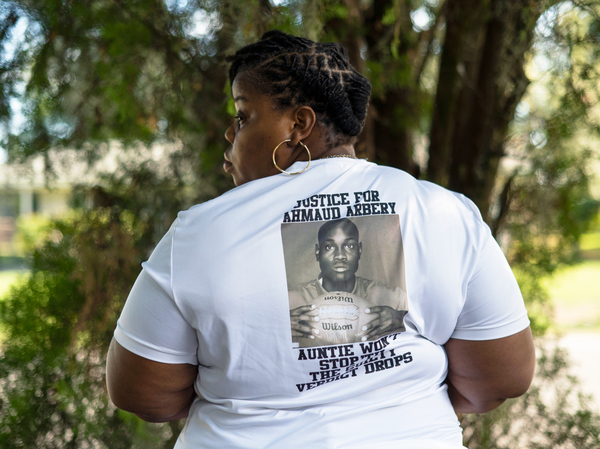 """Ahmaud Arbrey's Aunt, Theawanza Brooks in front of her home in Brunswick, Ga. """"Nobody has the decision to make as far as being the judge, jury and executioner."""""""