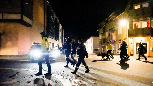 Police officers investigate a scene in Kongsberg, Norway after a man armed with bow killed several people before he was arrested Wednesday.