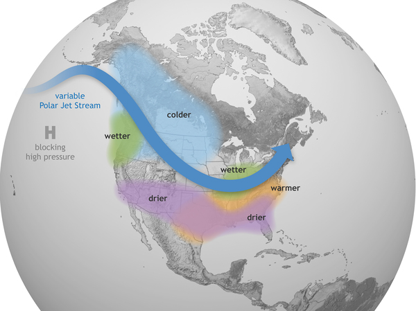 This Climate.gov graphic shows how La Niña generally affects weather conditions in the United States. Forecasters say there's a nearly 90% chance that La Niña conditions will be in place from December 2021 to February 2022.