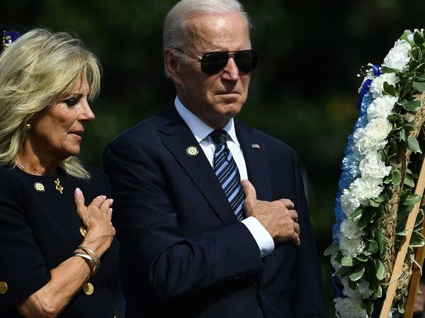 President Biden and first lady Jill Biden attend the 40th Annual National Peace Officers' Memorial Service at the U.S. Capitol on Saturday.