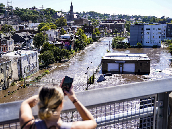 The Schuylkill River floods Philadelphia in the aftermath of Hurricane Ida in September. The extreme rain caught many by surprise, trapping people in basements and cars and killing dozens.