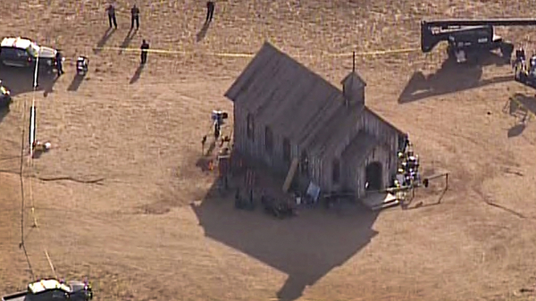 An aerial video image shows Santa Fe County Sheriff
