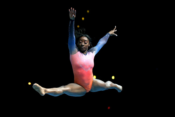 Simone Biles performs during the Gold Over America Tour. In an interview, she says she is still not performing twists.