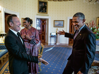 Bruce Springsteen, Michelle Obama and Barack Obama in the Blue Room before the Presidential Medal of Freedom ceremony on Nov. 22, 2016. It's one of many photos featured in the <em>Renegades</em> book.