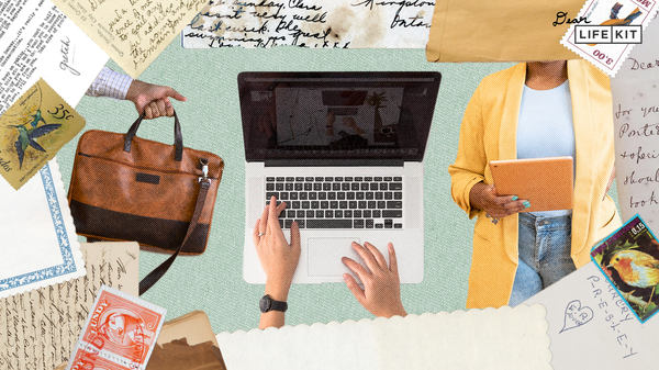 Collage showing a hand holding a briefcase, a pair of hands typing on a laptop and a person holding an iPad, surrounded by letters and documents.