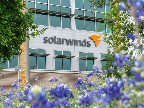 The SolarWinds Corp. logo is seen at the headquarters in Austin, Texas in April.