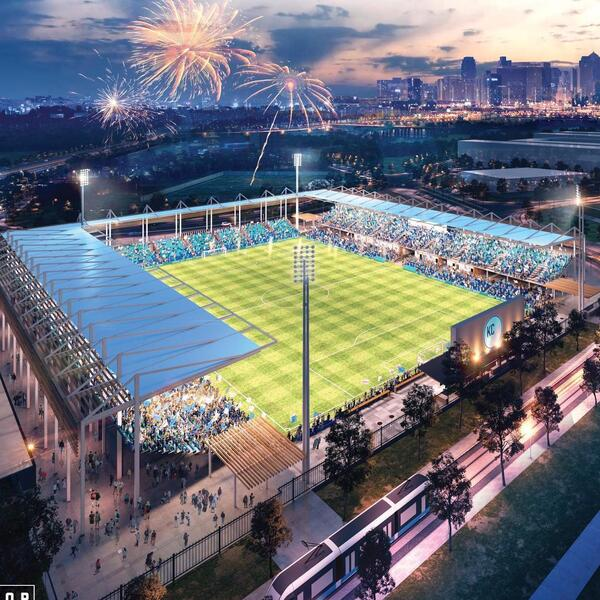 An artist's rendering of what the new women's soccer stadium in Kansas City, Mo., will look like.