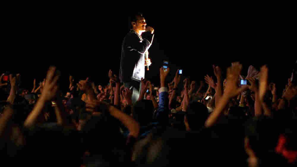 Singer Farhad Darya Walks Through Fans