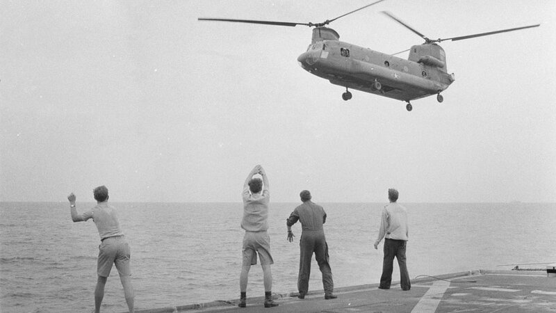 Kirk crew members wave off a CH-47 Chinook, dissuading Ba Nguyen from landing.
