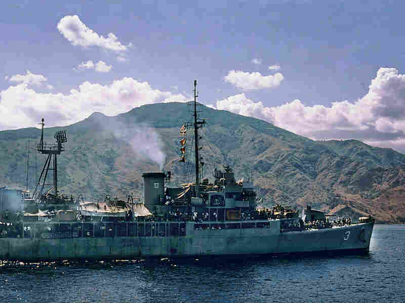 South Vietnamese navy ship filled with refugees at Con Son Island.