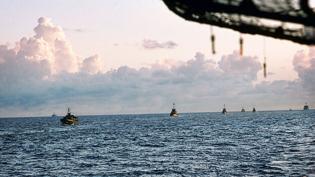 The South Vietnamese fleet follows the USS Kirk to Subic Bay in the Philippines.