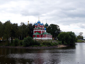 A day after leaving Moscow, colorful churches spring up along the forested banks of the Volga