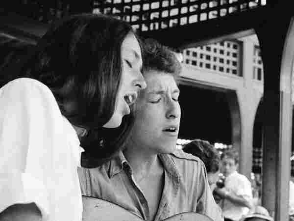 Bob Dylan and Joan Baez, Newport R.I.; credit: Rowland Scherman.