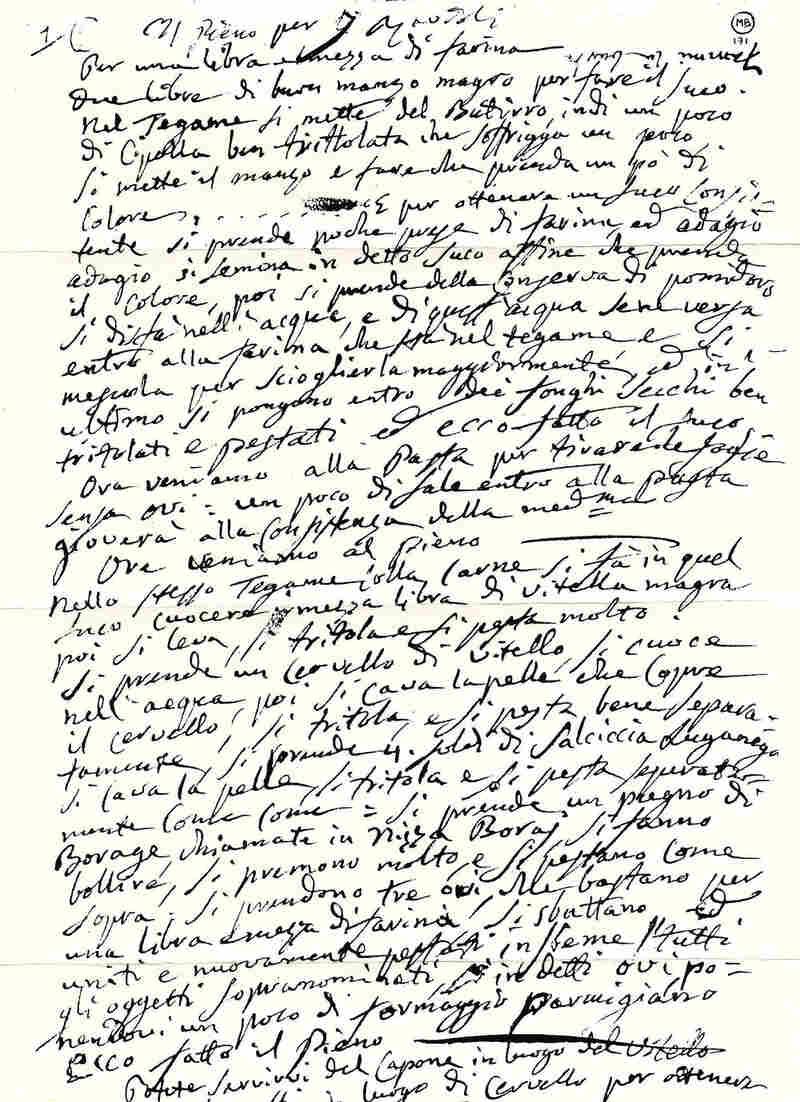 Manuscript of Paganini's Ravioli Recipe