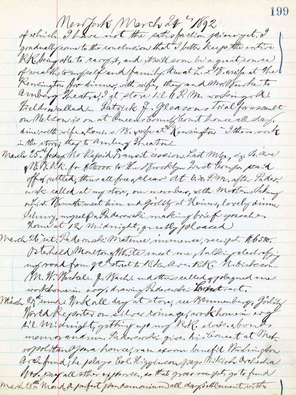 A page from William Steinway's 2,500-page diary
