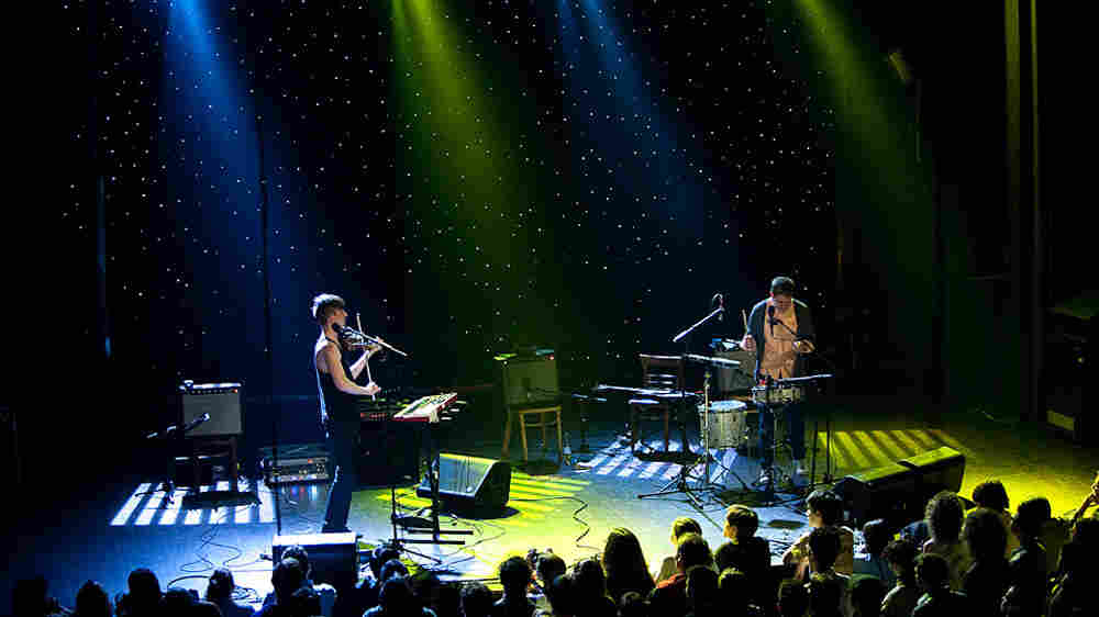 Owen Pallett (left) and Thomas Gill onstage at Webster Hall.; credit: Jon Vachon