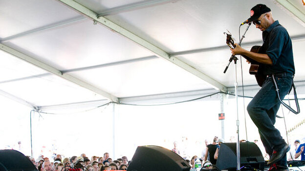Tom Morello performs at Newport Folk.