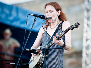 Gillian Welch performs at the Newport Folk Festival.