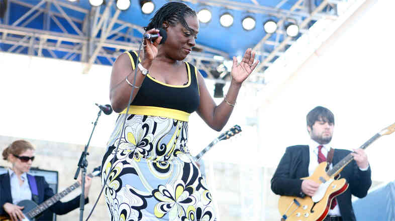 Sharon Jones and the Dap-Kings performs at the 2010 Newport Folk Festival.