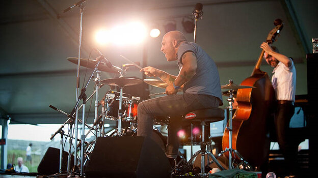 David King and Reid Anderson of The Bad Plus perform at Newport Jazz.