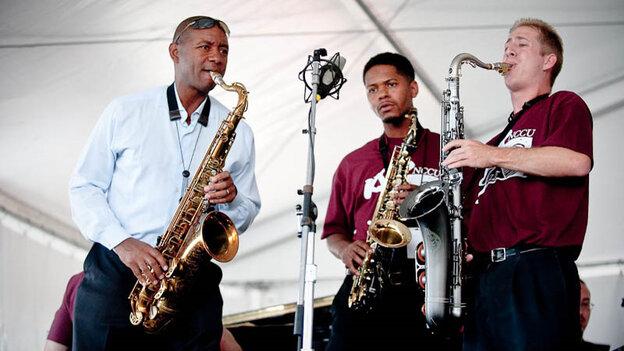 Branford Marsalis performs with the North Carolina Central Jazz Big Band at Newport Jazz.