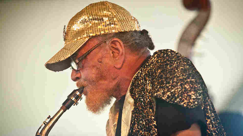 Marshall Allen performs at the CareFusion Newport Jazz Festival 2010.