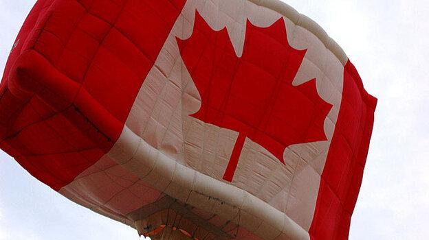 A Canadian flag hot air balloon.