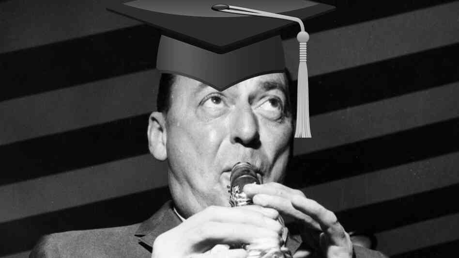 Woody Herman in a mortar board