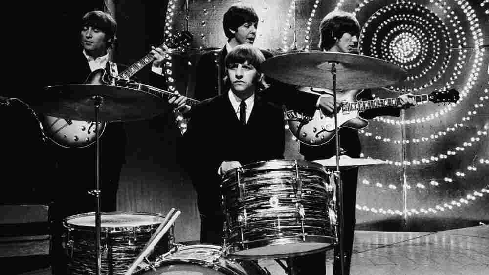 The Beatles perform at the BBC in 1966.