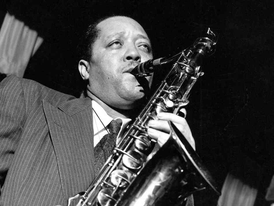 Rather than holding his saxophone vertically, Lester Young held it high and to the right.