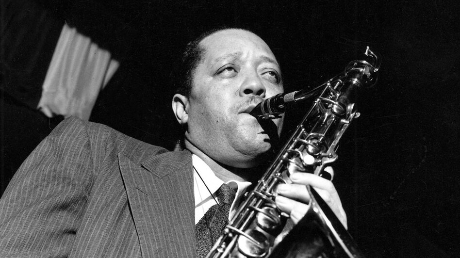 Rather than holding his saxophone vertically, Lester Young held it high and to the right at a 45-degree angle. (Getty Images)