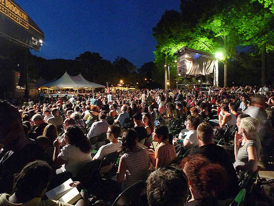 "Thousands showed up at Prospect Park in Brooklyn for Thursday night's ""Purple Rain Sing-Along."""