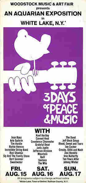 Woodstock Concert Brochure