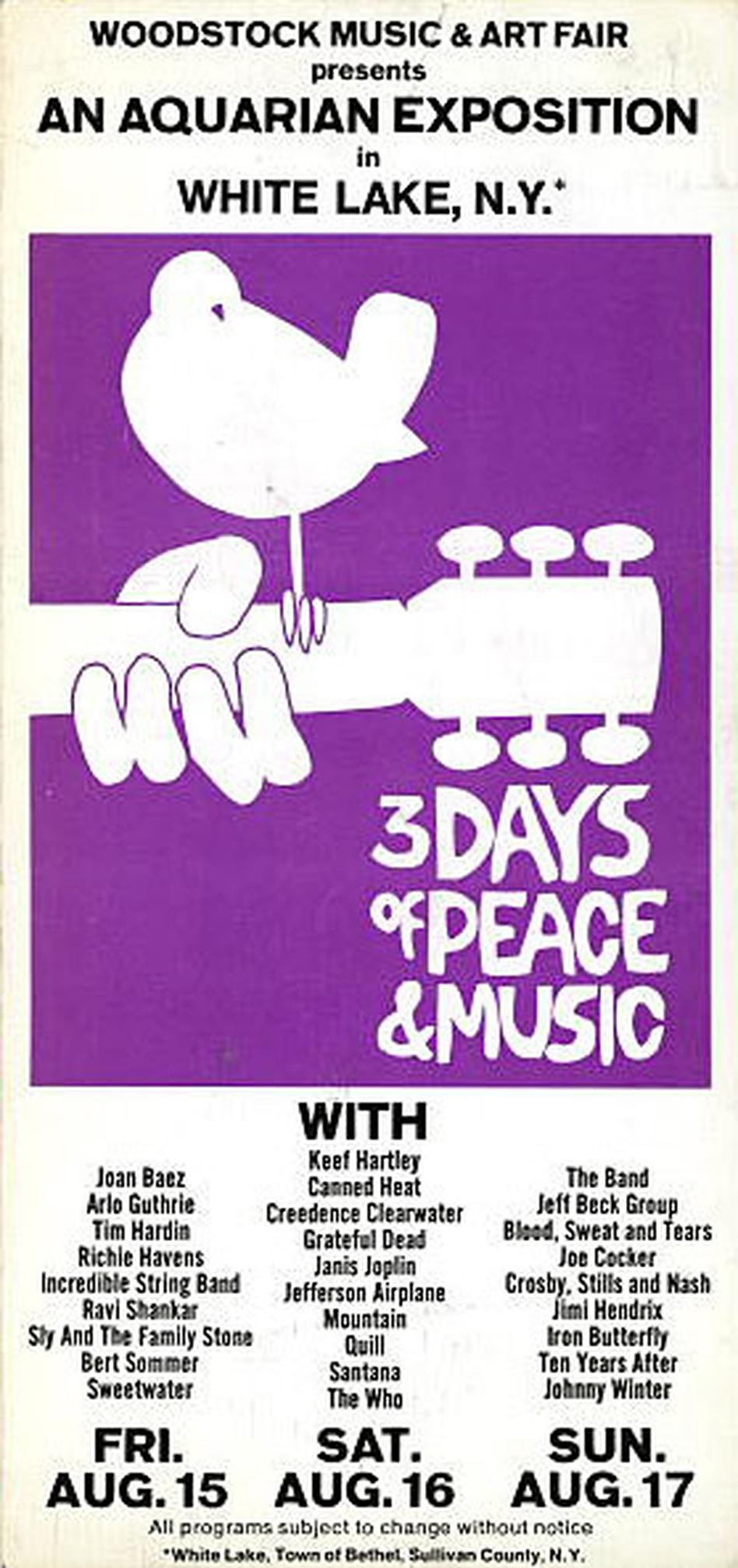 A Woodstock concert brochure.