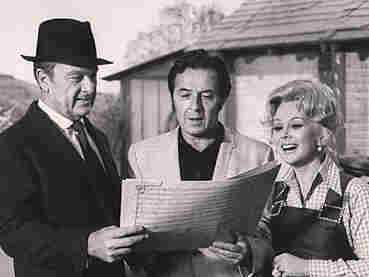 Green Acres theme songwriter Vic Mizzy flanked by the show's stars: Eddie Albert and Eva Gabor.