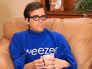 Rivers Cuomo cozies up to a hot cup of Chamomile tea in his blue Weezer Snuggie.