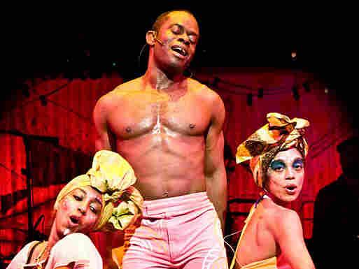 Sahr Ngaujah onstage as Fela Kuti in Fela!