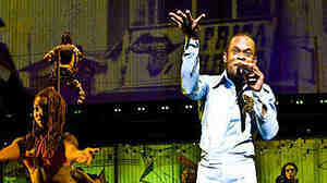 Sahr Ngaujah onstage as Fela Kuti in Fela!