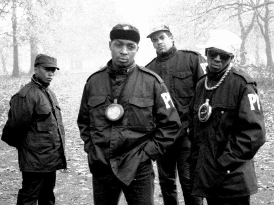 Public Enemy in 1987; credit: David Corio/Redferns